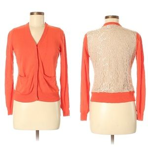 Ann Taylor V-Neck Lace Back Lightweight Cardigan